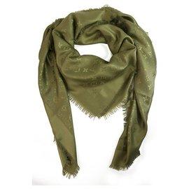 Louis Vuitton-Louis Vuitton Monogram Vert Olive Châle jacquard en soie tissée ton sur ton M75698-Vert foncé