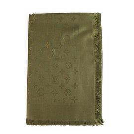 Louis Vuitton-Louis Vuitton monogram Olive Green Tone on tone shawl weaved jacquard silk M75698-Dark green