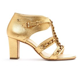 Chanel-GOLD LEATHER CHAINS FR37.5-Golden