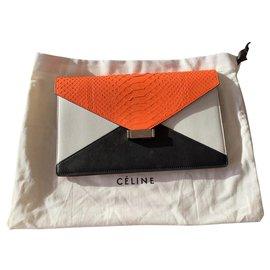 Céline-Diamond clutch en python orange et cuir noir et blanc Céline-Noir,Blanc,Orange