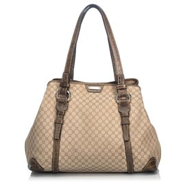 Céline-Celine Brown Macadam Canvas Tote Bag-Brown,Beige