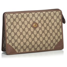 Gucci-Gucci Brown GG Clutch Bag-Marron