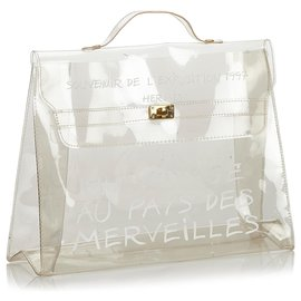 Hermès-Hermes White Vinyl Kelly Handbag-White