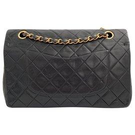 Chanel-Chanel Timeless cuir noir matelasse vintage-Noir
