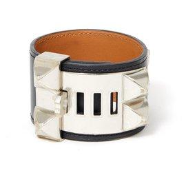 Hermès-MEDOR CDC S SCHWARZ SILBER NEU-Schwarz,Silber