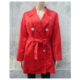 Yves Saint Laurent-Trench coats-Red
