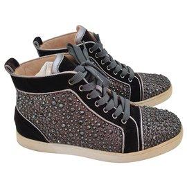 Christian Louboutin-Christian Louboutin strass high top Sneakers EU40-Schwarz,Silber