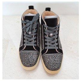 Christian Louboutin-Christian Louboutin strass high top sneakers EU40-Black,Silvery