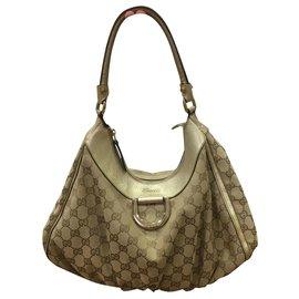 Gucci-Cloth monogram bag-Beige