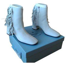 Prada-PRADA ANKLE BOOTS White Leather with Fringes-White