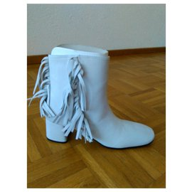 Prada-PRADA ANKLE BOOTS White Leather with Fringes-White
