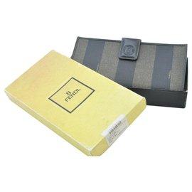 Fendi-Fendi Pequin Brieftasche-Khaki