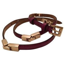 Gucci-Raspberry lizard skinny belt-Other