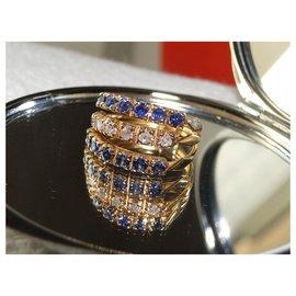 inconnue-Ring 3 Gelbgold-Ringe 18 Saphir und Diamanten-Blau,Golden