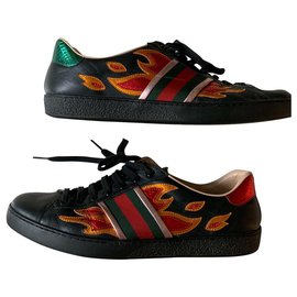 Gucci-Gucci ace flames-Black,Red