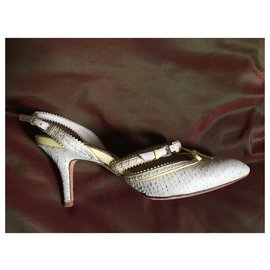 Christian Dior-Talons-Beige,Blanc cassé
