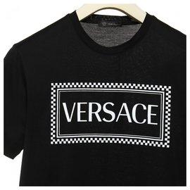 Versace-Versace logo printed t shirt-Black