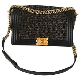 Chanel-Boy-Black,Golden