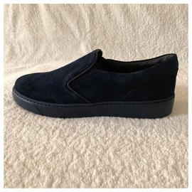 Moncler-Navy blu suede slip-on sneakers-Navy blue