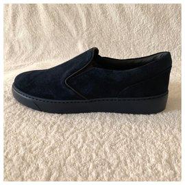 Moncler-Navy blu suede slip-on sneakers-Navy blue