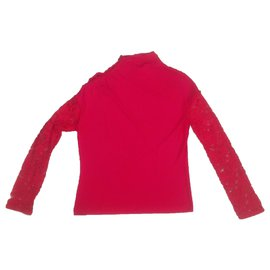 Yves Saint Laurent-Vintage red top with buttons-Red