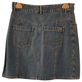 Chloé-New Chloé denim skirt with label-Blue