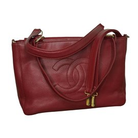 Chanel-Timeless Tote 33 cm in caviar-Dark red