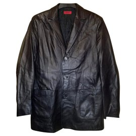 Hugo Boss-HUGO by Hugo Boss Elegant Fitted Black Leather Jacket, D size 50-Black