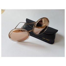 Linda Farrow-Sunglasses-Cognac