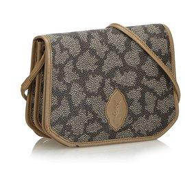 Yves Saint Laurent-YSL Brown Coated Canvas Crossbody Bag-Brown,Beige,Dark brown