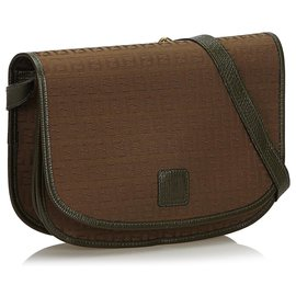 Fendi-Fendi Brown Zucchino Canvas Crossbody Bag-Brown