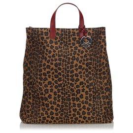 Fendi-Fendi Brown - Einkaufstasche aus Segeltuch mit Leopardenmuster-Braun,Mehrfarben ,Beige