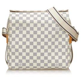 Louis Vuitton-Louis Vuitton White Damier Azur Naviglio-White,Blue,Cream