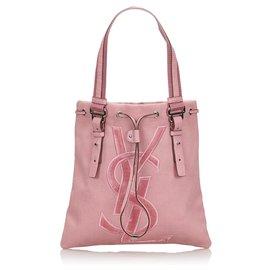 Yves Saint Laurent-YSL Pink Canvas Kahala Einkaufstasche-Pink