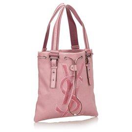 Yves Saint Laurent-Sac cabas Kahala en toile rose YSL-Rose