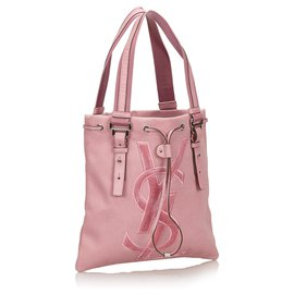 Yves Saint Laurent-YSL Pink Canvas Kahala Tote Bag-Pink