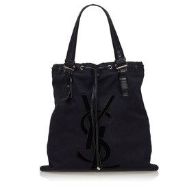 Yves Saint Laurent-YSL Black Canvas Kahala Tote Bag-Black