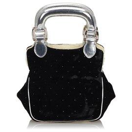Fendi-Fendi Black Velour Handbag-Black,Silvery