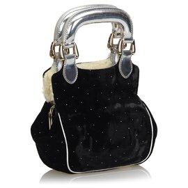 Fendi-Fendi Black Velour Handtasche-Schwarz,Silber