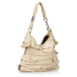 Yves Saint Laurent-YSL White Leather Saint Tropez Shoulder Bag-White