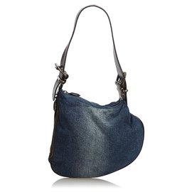 Fendi-Fendi Blue Denim Oyster Bag-Brown,Blue,Dark brown