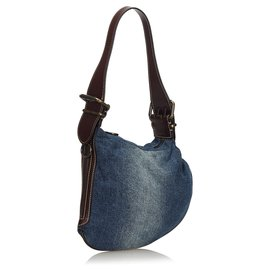 Fendi-Fendi Blue Denim Oyster Bag-Marron,Bleu,Marron foncé