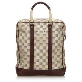 Louis Vuitton-Louis Vuitton White Damier Lune Cabas-Brown,White