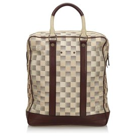 Louis Vuitton-Louis Vuitton White Damier Lune Cabas-Marron,Blanc