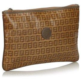 Fendi-Fendi Brown Zucchino Coated Canvas Clutch Bag-Brown