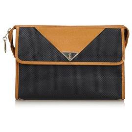 Yves Saint Laurent-YSL Black Woven Flap Clutch Bag-Brown,Black,Light brown