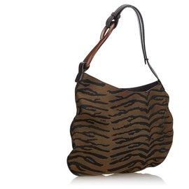Fendi-Fendi Brown Animal Printed Canvas Oyster Shoulder Bag-Brown,Black