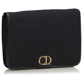 Dior-Dior Black Dior Pochette en toile avec toile-Noir