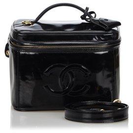 Chanel-Cuir verni noir CC Chanel 2 Way Vanity Bag-Noir