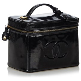 Chanel-Chanel Black CC Patent Leather 2 Way Vanity Bag-Black